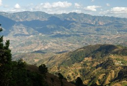 Chalatenango, Los Planes Farm. Directly below is the road we were driving on. The mountains in back are in Honduras.