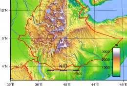 Ethiopia Topography Map