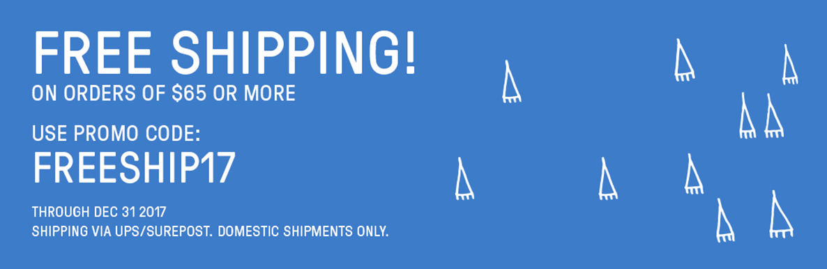 Free Shipping on orders of $65 or more through December 31, 2017. Domestic Shipments only